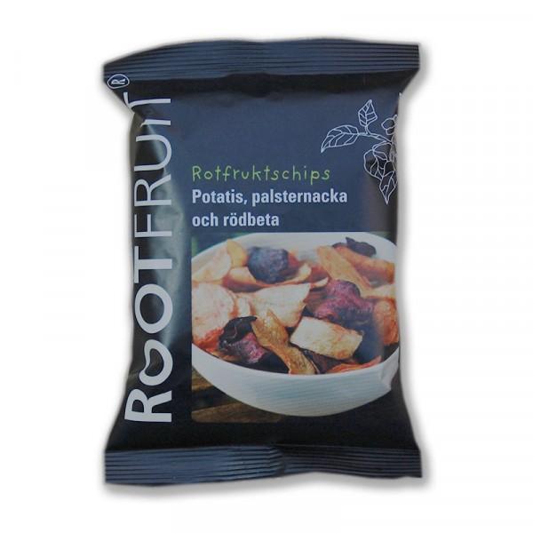 Rotfruktschips, lättsaltade 20x40g Rootfruit #3034