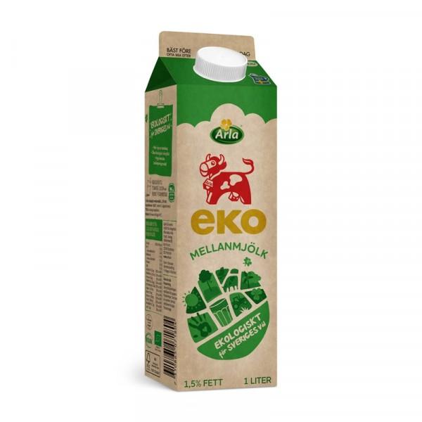 Mellanmjölk 1,5%, 1 L, EKO 6x1l, Arla #7180