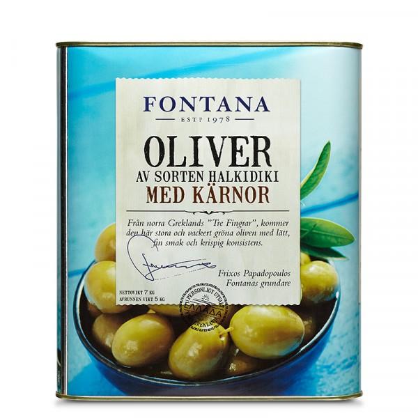 Oliver Halkidiki, gröna med kärnor 1x5kg, Fontana #77742