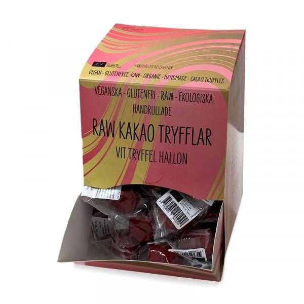 Vegan-tryffel, Vit tryffel och hallon 40x15g Råboll Raw Truffles #1105
